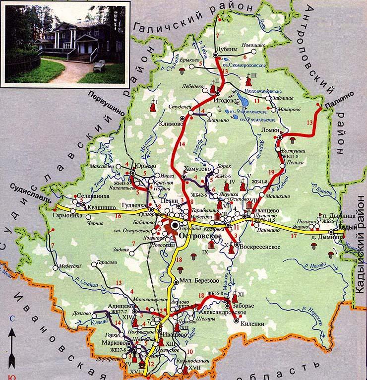 Карта-схема Островского района