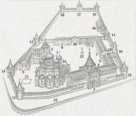 Схема Ипатьевского монастыря Кострома