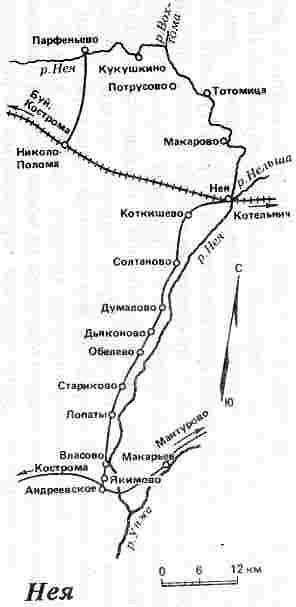 Карта схема реки Нея