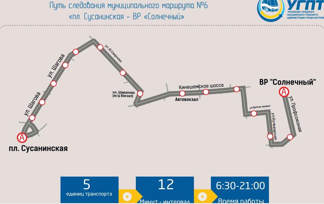 Маршрут автобуса номер 6 Кострома