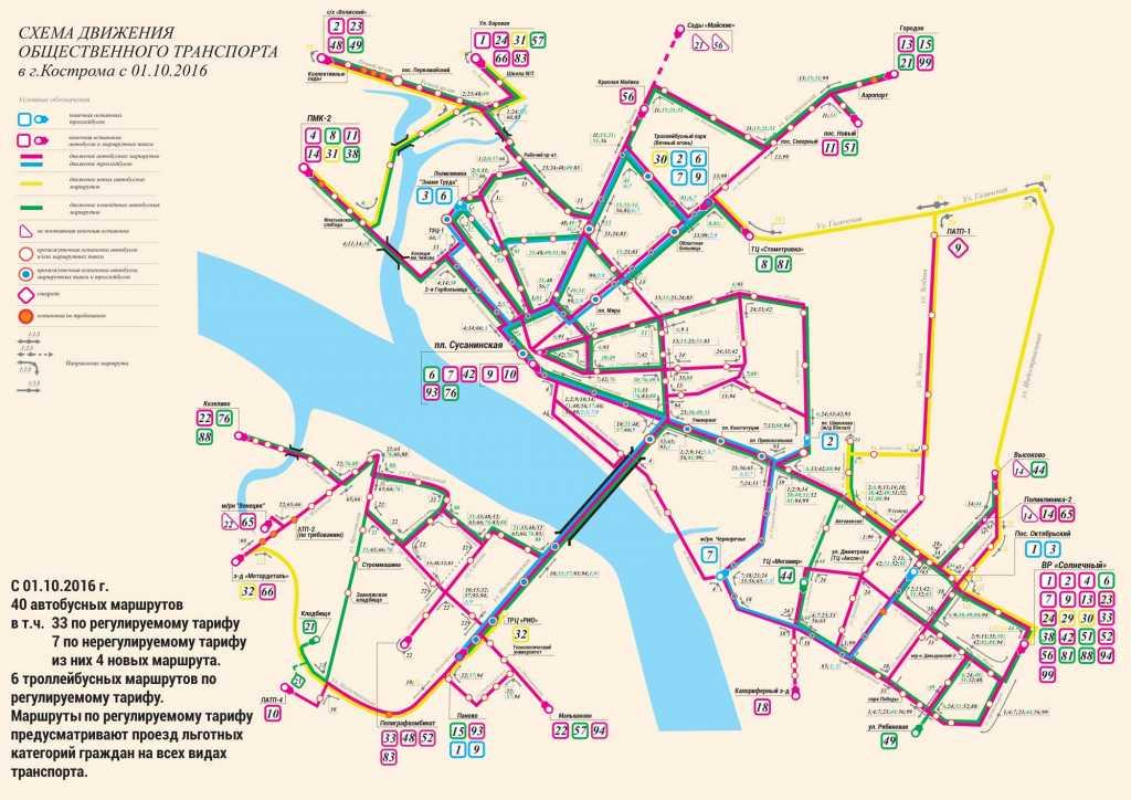 Схема движения автобусов в нижне